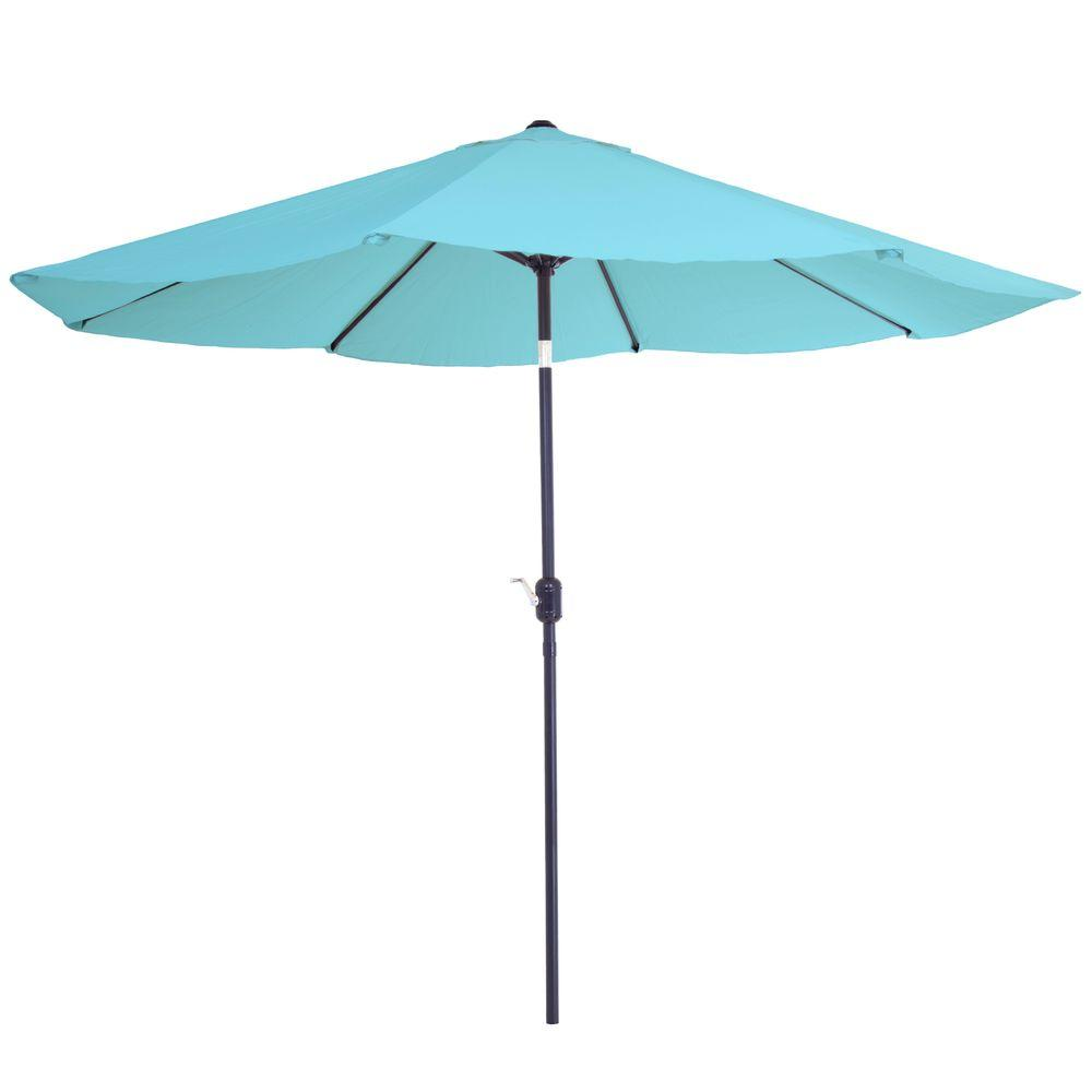 Pure Garden 10 Ft. Aluminum Patio Umbrella With Auto Tilt In Blue M150002    The Home Depot