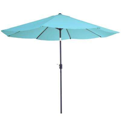 10 ft. Aluminum Patio Umbrella with Auto Tilt in Blue