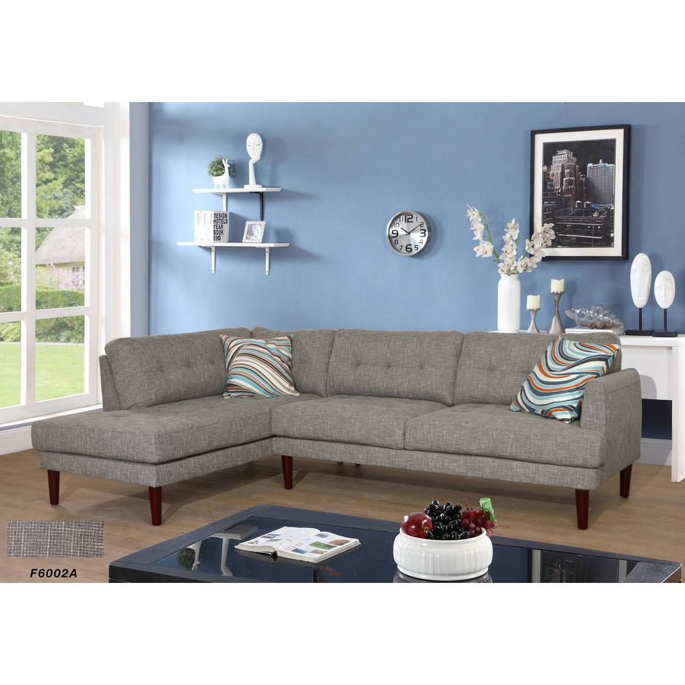 Gray linen 2 piece sectional sofa set sh6002a the home depot