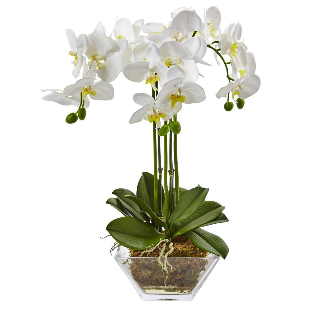 nearly natural 22 in triple phalaenopsis orchid in glass vase 4570 rh homedepot com artificial orchid with vase orchid vases