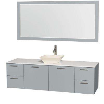 Amare 72 in. W x 22 in. D Vanity in Dove Gray with Solid-Surface Vanity Top in White with Bone Basin and 70 in. Mirror