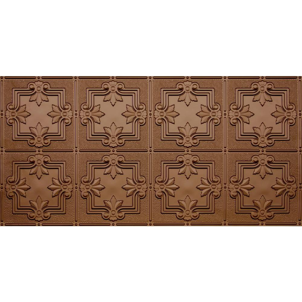 Global Specialty Products Dimensions Faux 2 ft. x 4 ft. Glue-up Tin Style Surface Mount Ceiling Tile in Fused Bronze