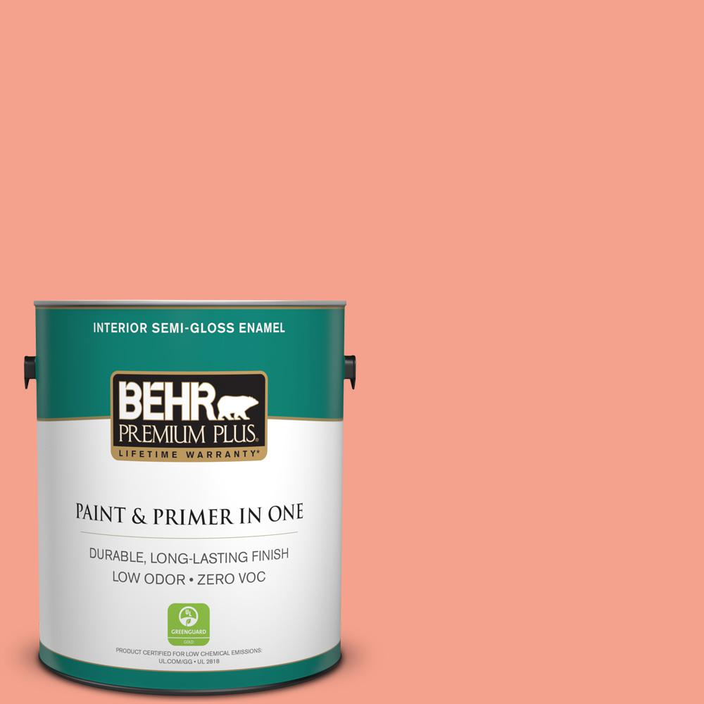 BEHR Premium Plus Home Decorators Collection 1-gal. #HDC-MD-18 Peach Mimosa Zero VOC Semi-Gloss Enamel Interior Paint