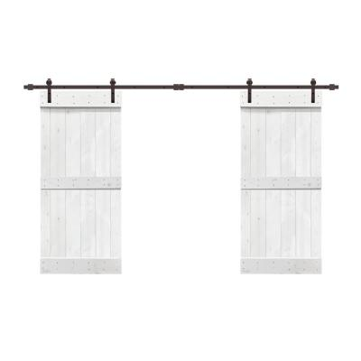 48 in. x 84 in. Mid-Bar Series White Stained Solid Knotty Pine Wood Interior Double Sliding Barn Door with Hardware Kit