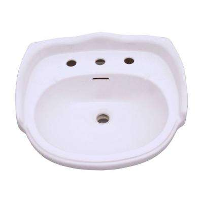 Aberdeen 8 in. Pedestal Sink Basin Only in White