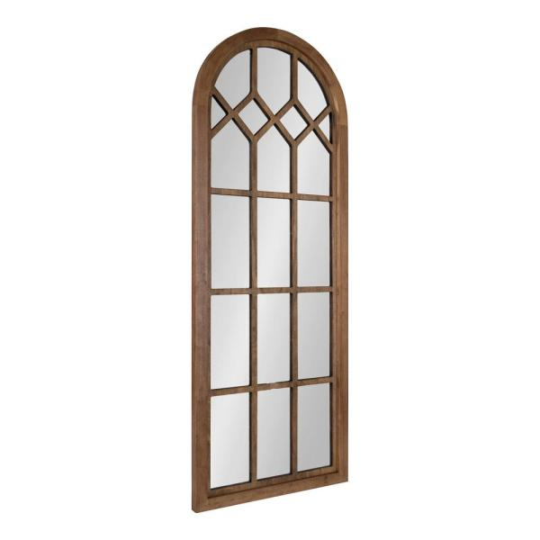 Gilcrest 47 in. x 18 in. Classic Arch Framed Rustic Brown Wall Accent Mirror