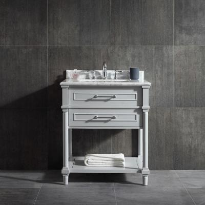 Aberdeen 30 in. W Open Shelf Vanity in Dove Grey with Carrara Marble Top with White Sink
