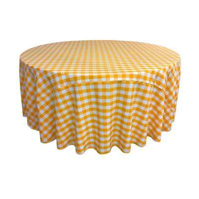 108 in. White and Dark Yellow Polyester Gingham Checkered Round Tablecloth