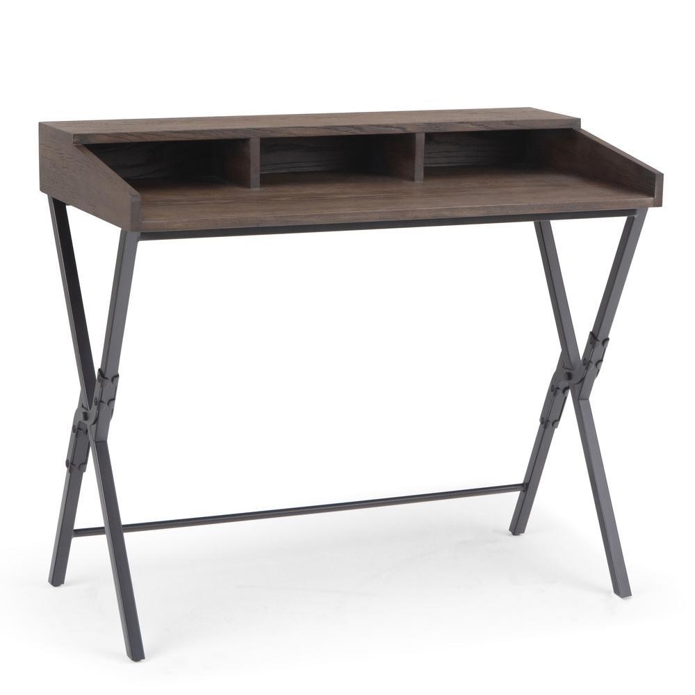 Chloe and Metal Modern Industrial 39 in. Wide Scissor Desk in Dark Brown