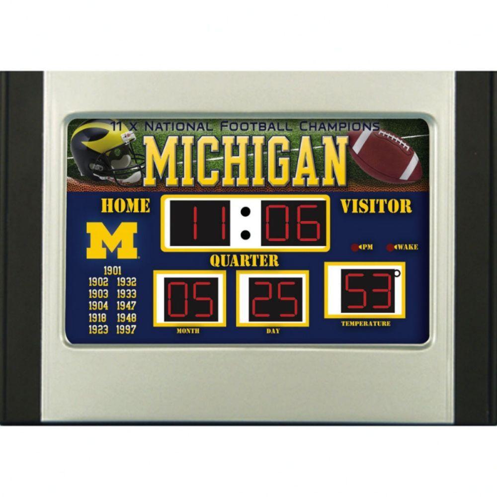 null University of Michigan 6.5 in. x 9 in. Scoreboard Alarm Clock with Temperature