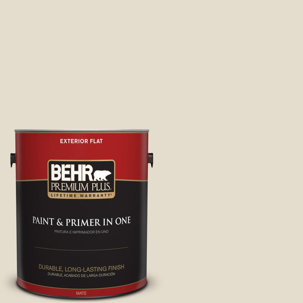1 gal. #MQ3-40 Varnished Ivory Flat Exterior Paint and Primer in