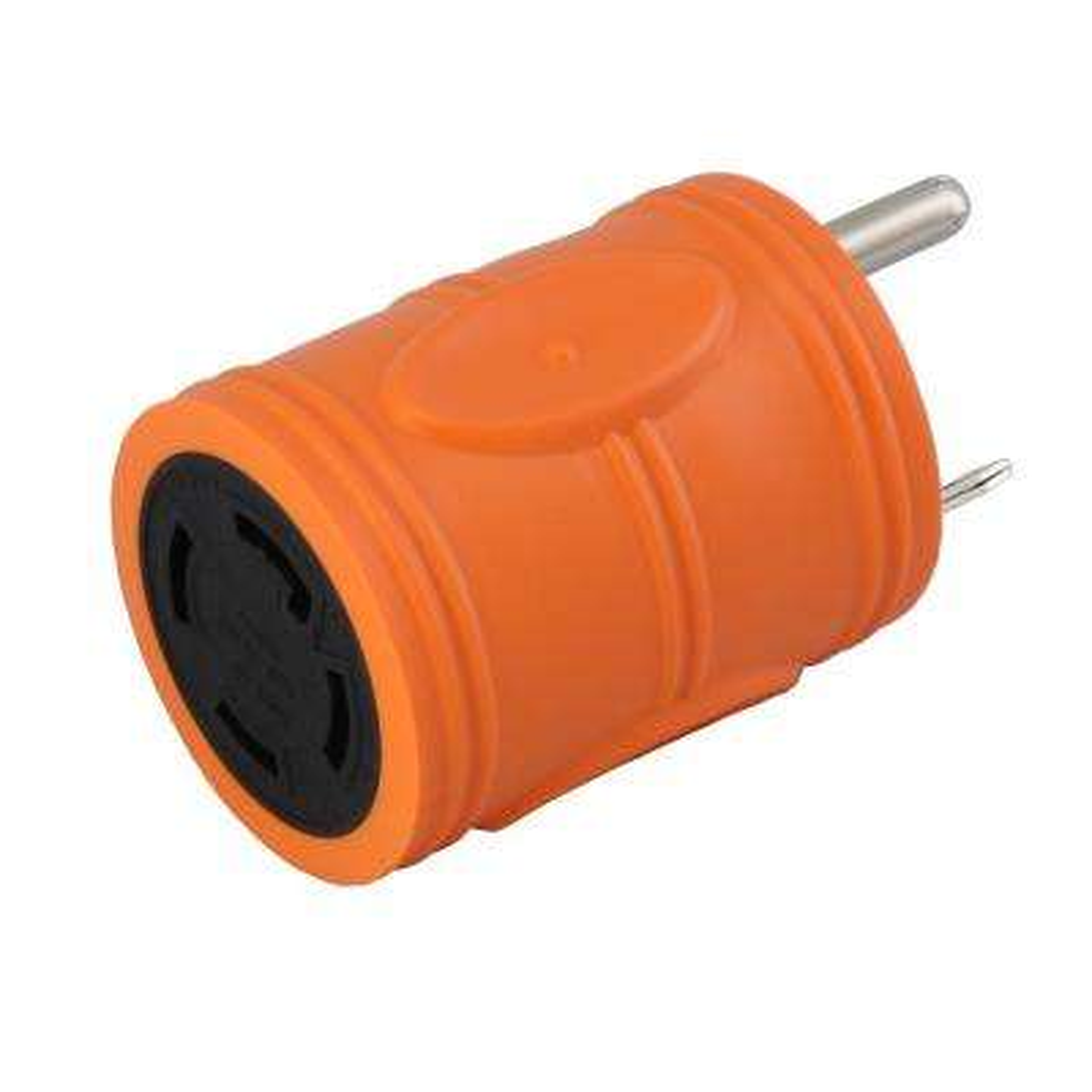 Locking Adapter RV/Generator TT-30P 30 Amp Plug to L14-30R 4-Prong 30 Amp Locking Female Connector (Hots Bridged)