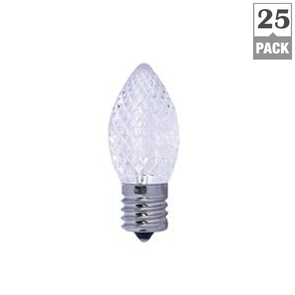 5W Equivalent Warm White Light C7 Non-Dimmable LED Candelabra Screw Light Bulb (25-Pack)