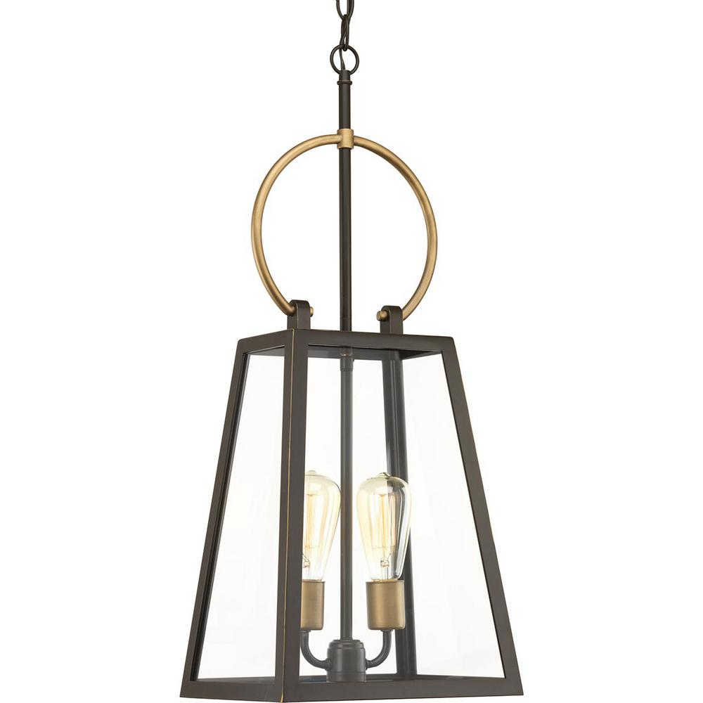 Progress Lighting Barnett Collection Antique Bronze 2-Light Outdoor Hanging Lantern
