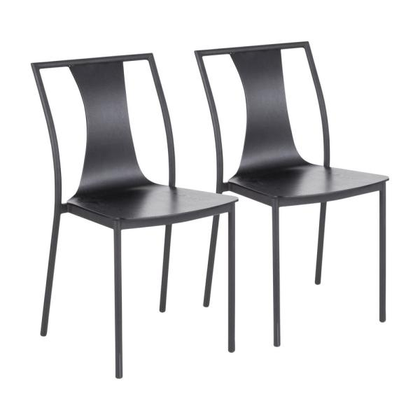 Osaka Black Wood and Metal Dining Chair (Set of 2)