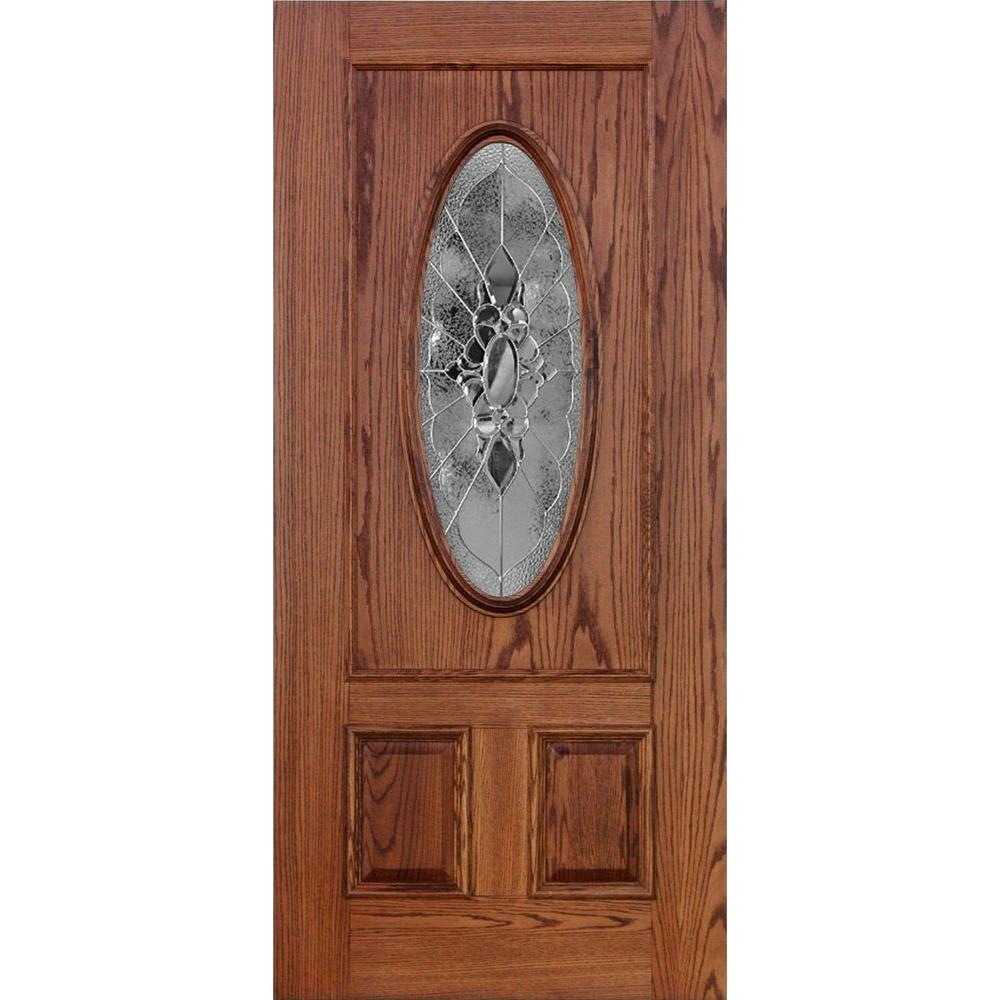 Koch Elite Dual Clad Entry 36 in. x 80 in. Red Oak Prehung Front Door Persia Zinc 6-9/16 in. Primed Frame Bronze Sill Double Bore-DISCONTINUED