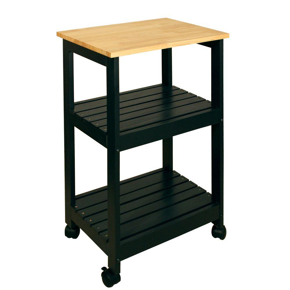 Catskill craftsmen black kitchen cart with shelf