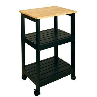 Black Kitchen Cart with Shelf