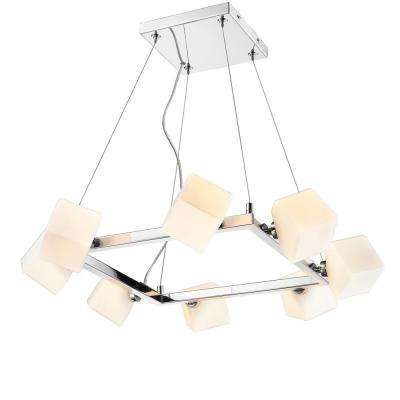 Volga 8-Light Chrome Chandelier with Cased Opal Glass Shade