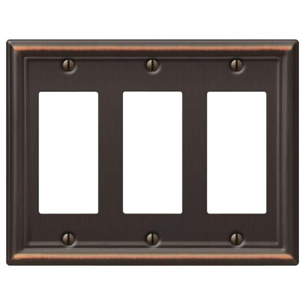 Ascher 3 Gang Rocker Steel Wall Plate - Aged Bronze