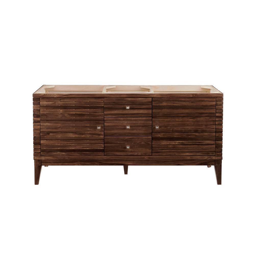 Linear 58.75 in. W x 19.50 in. D Bath Vanity Cabinet Only in Mid-Century Walnut
