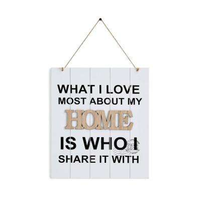 Inspirational What I Love Most About My Home Is Who I Share It with Wooden Wall Plaque Sign