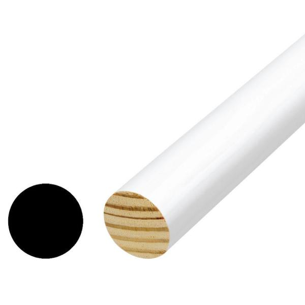 1-5/16 in. x 1-5/16 in. x 72 in. Vinyl Wrapped Pre Finished White Closet Full Round Pole