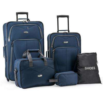 5-Piece Navy Softside Lightweight Rolling Luggage Set