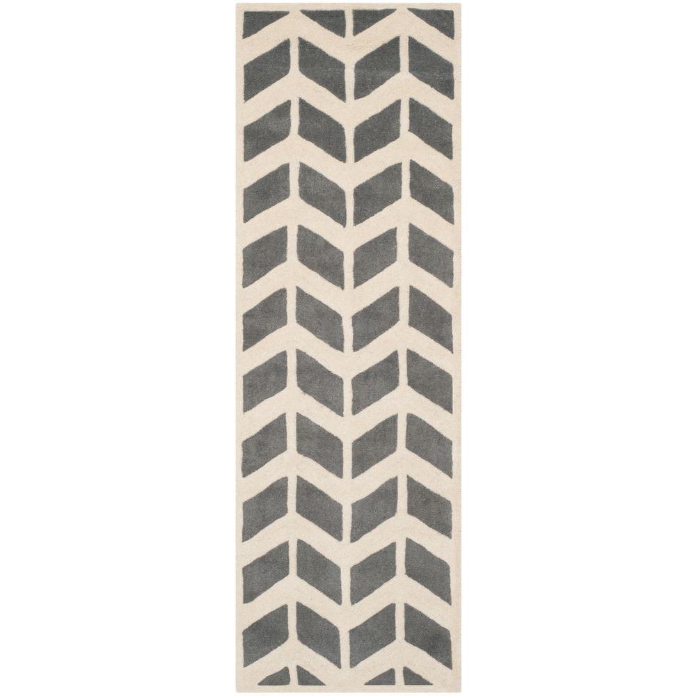 Chatham Dark Grey/Ivory 2 ft. x 7 ft. Runner Rug