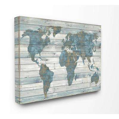 "24 in. x 30 in. ""Slate Blue and Tan Rustic Weathered World Map"" by Artist Jamie MacDowell Canvas Wall Art"