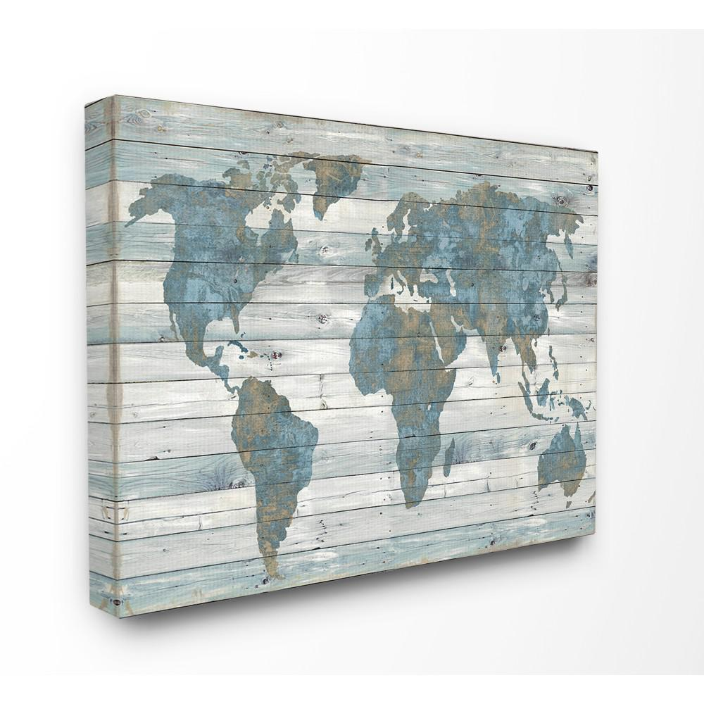 Stupell Industries 24 In X 30 In Slate Blue And Tan Rustic Weathered World Map By Artist Jamie Macdowell Canvas Wall Art Mwp 487 Cn 24x30 The Home Depot