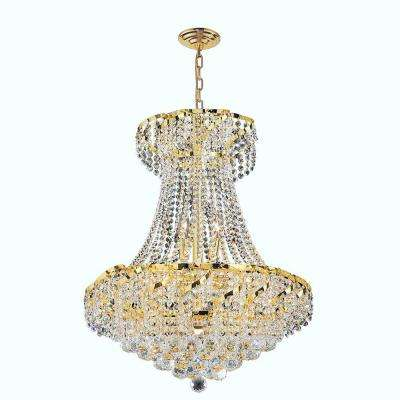 Empire Collection 11-Light Polished Polished Gold and Clear Crystal Chandelier