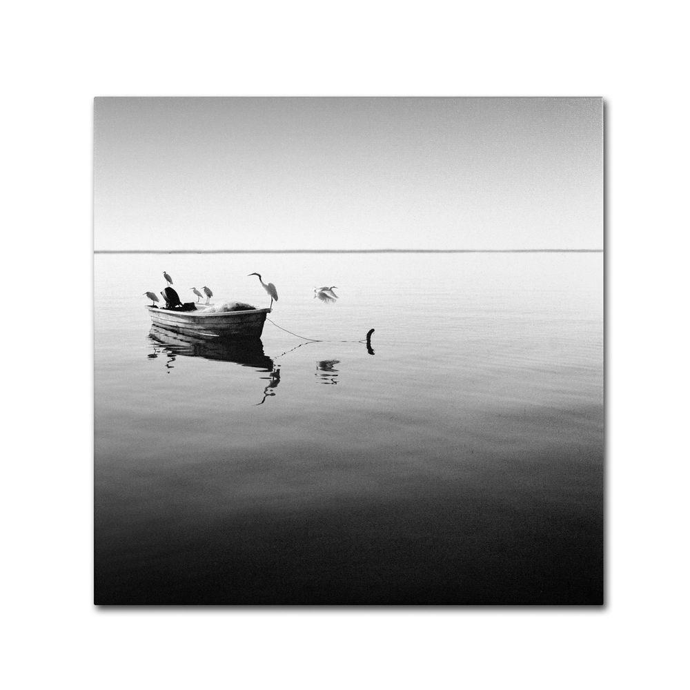 24 in. x 24 in. Boat and Heron II Canvas Art