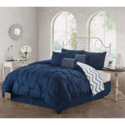 Ella Pinch Pleat 7-Piece Navy Queen Comforter