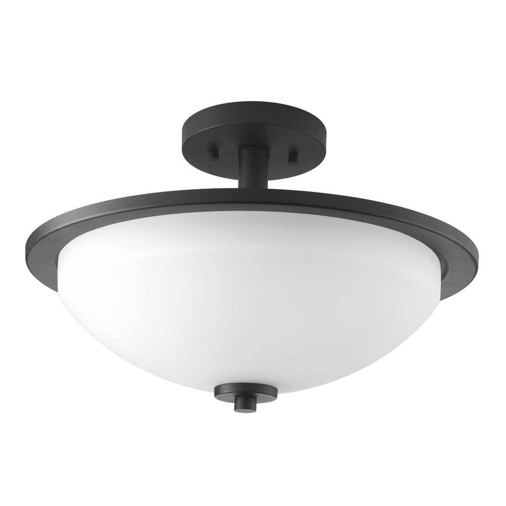 Replay Collection 2-Light Black Flushmount with Etched White Glass