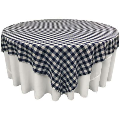 """""""72 in. x 72 in. White and Navy Polyester Gingham Checkered Square Tablecloth"""""""