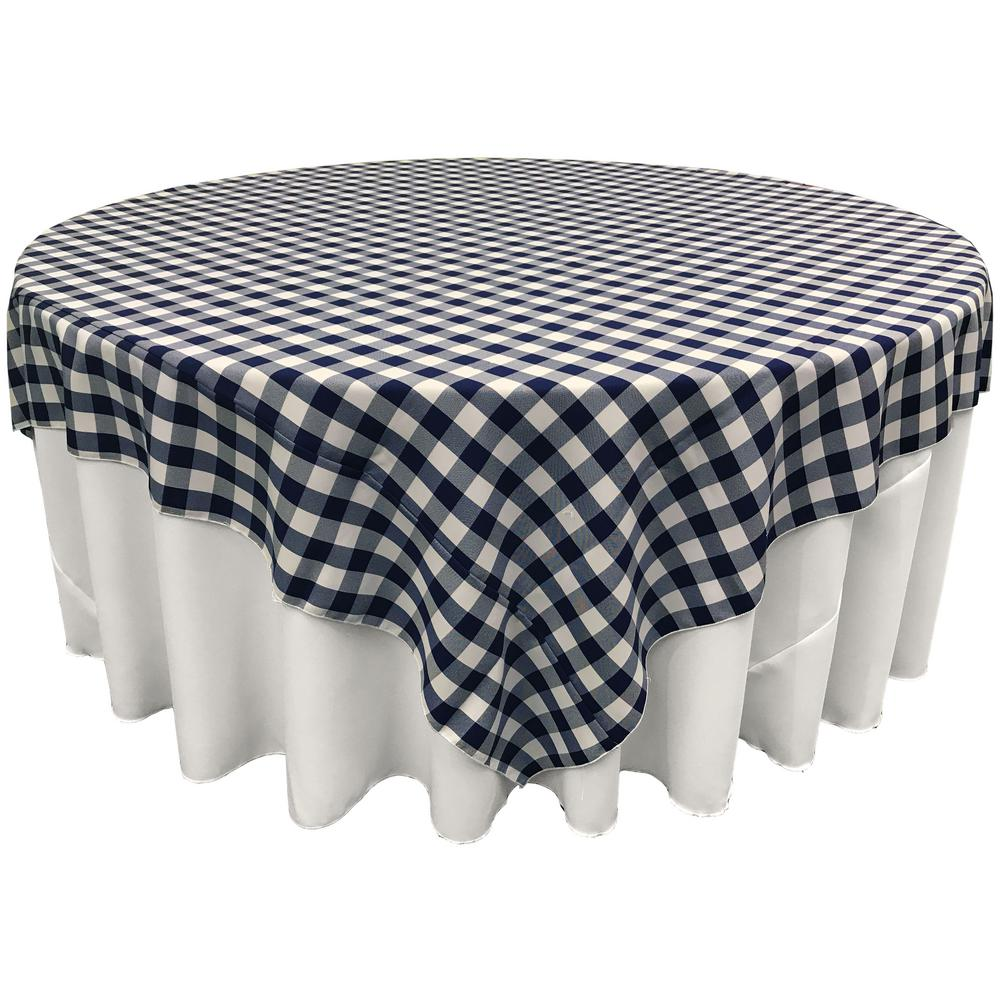 White And Navy Polyester Gingham Checkered