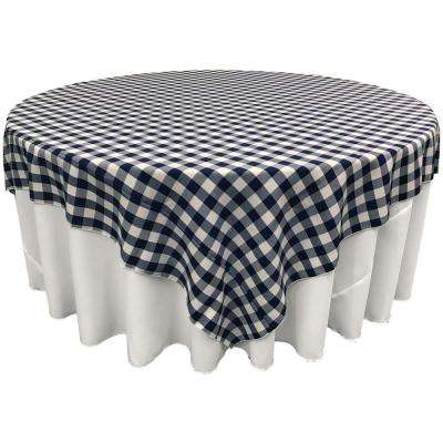 """90 in. x 90 in. White and Navy Polyester Gingham Checkered Square Tablecloth"""
