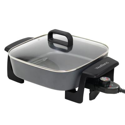 12 in. Gray Immersible Square Electric Skillet with Grease Channel and Tilt Leg