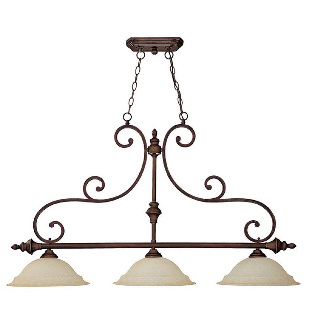 Filament Design 3-Light Burnished Bronze Island Lighting Fixture with Mist Scavo Glass