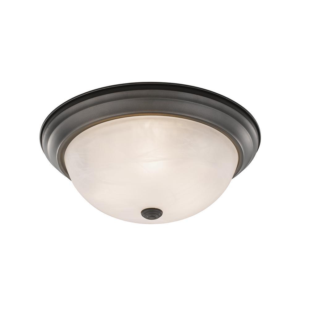 Curran 3-Light 60-Watt Bronze Flush Mount with Alabaster Glass
