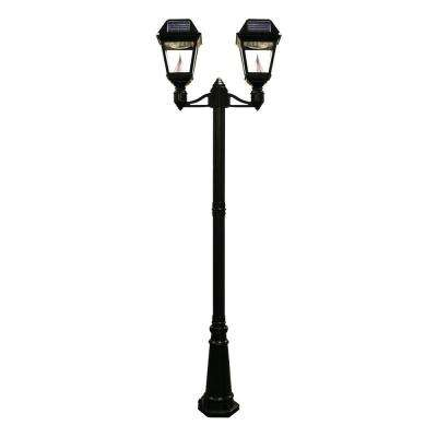 Imperial II 2-Head Solar Black Outdoor Integrated LED Lamp Post with 21 Bright-White LEDs per Lamp Head