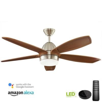 Campo Sano 54 in. Integrated LED Brushed Nickel Ceiling Fan with Light Kit works with Google Assistant and Alexa