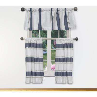 Namia Kitchen Valance in White-Navy - 15 in. W x 58 in. L (3-Piece)
