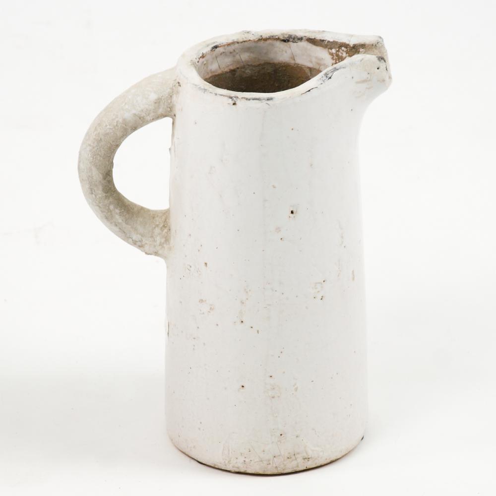 Stoneware Distressed White Small Decorative Pitcher Vase