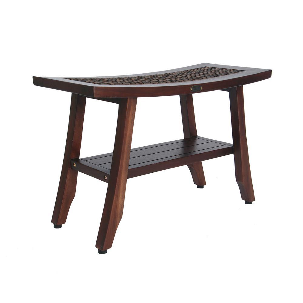 Satori 24 in. Eastern Style Teak Shower Bench with Viro Indoor/Outdoor Rattan Top and Shelf
