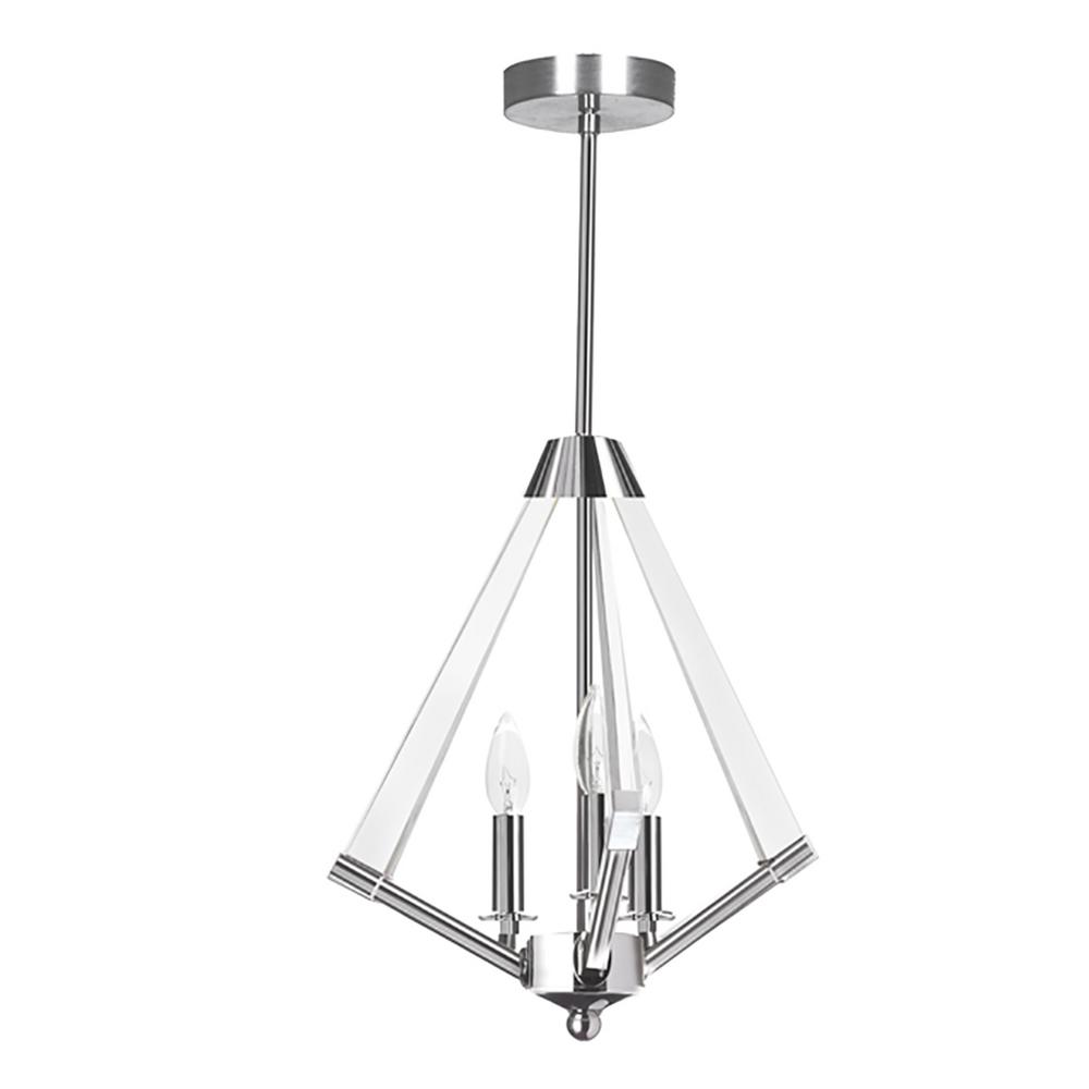 3-Light Polished Chrome Pendant with Acrylic Shade