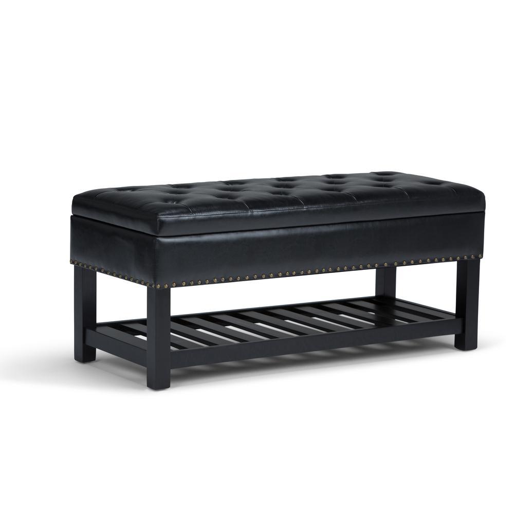 Lomond Midnight Black PU Faux Leather Storage Ottoman Bench