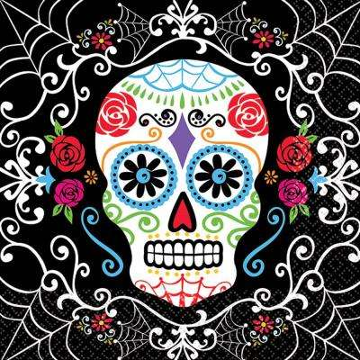 5 in. x 5 in. Day of the Dead Beverage Napkins (36-Count, 3-Pack)