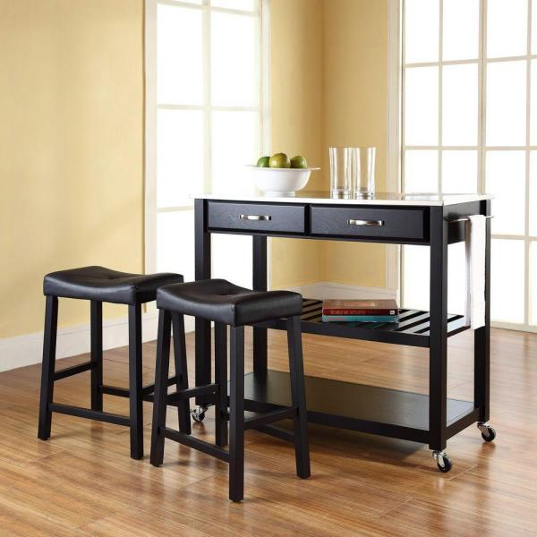 Crosley Black Kitchen Cart With Stainless Steel Top KF300524BK